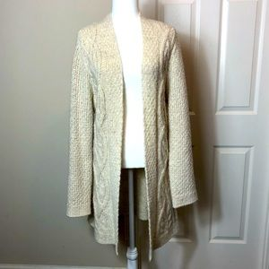 Ann Taylor LOFT long cable knit cardigan